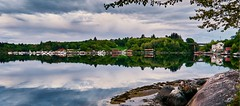Røyksund, Norway (Vest der ute) Tags: g7x norway rogaland karmøy røyksund seascape sea water landscape reflections mirror boats rocks trees sky clouds outdoor bridge houses fav25