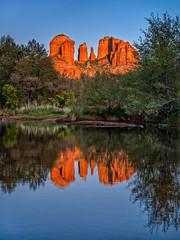 Sunset, Cathedral Rock / Red Rock Crossing Vortex &  Oak Creek, Sedona AZ (www.clineriverphotography.com) Tags: usa sedona cathedralrock water stream landscape arizona location oakcreek 2014 redrockcrossing