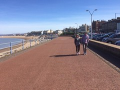 Just the two of us. Stepping out in sunny Morecambe. (Bennydorm) Tags: promenade twosome together manandwoman morecambebay iphone5s people sky europe uk gb britain england sunday lancashire morecambe resort sunny march sunshine esplanade coast seaside strolling walking duo couple pair two