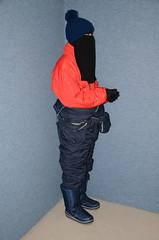 Two warm snowsuits (Warm Clothes Fetish) Tags: snowsuits slave girl warm hot winter sweat torture coat anorak niqab hijab burka chador boots fur
