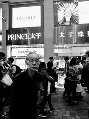 Anxious Watch, Causeway Bay, Hong Kong (Job Homeless) Tags: hongkong city people oldman crowd streetsnap streetphotography blackandwhite bw monotone monochorme
