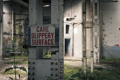 Care...slippery surface (Taken-By-Me) Tags: abandoned adventure takenbyme building buildings beam metal structure care slippery wet surface mill closed centre derelict decay dark door demolished d750 explore exploring empty forgotten floor factory gone green industrial left nikon neglect north ruin shut urbex urban ue uk vacant wall walls