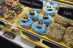 Cookie Monster Donut (jpellgen) Tags: fargo moorhead nd northdakota travel roadtrip 2017 spring april nikon sigma 1770mm d7000 usa america midwest food foodporn restaurant sandys donuts donut doughnuts doughnut bakery cookiemonster blue sesamestreet