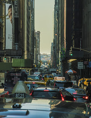"""A View Of Theater District NYC Rush Hour (nrhodesphotos(the_eye_of_the_moment)) Tags: dsc085353001024 """"theeyeofthemoment21gmailcom"""" """"wwwflickrcomphotostheeyeofthemoment"""" manhattan nyc transportation manhattanstreets autos cars busshot thruawindow outdoors reflections shadows metal windows signs displays taxis streetlights skyline waterfront westside hudsonriver architecture narrow broadway showbusiness"""