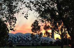 Melbourne Soccer Stadium @ sunset (Marian Pollock (Weiler)) Tags: australia victoria melbourne soccer stadium sunset silhouette lights trees architecture sunshine dusk
