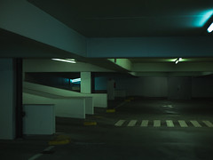 Gradation (fincithreee) Tags: darkness parking space lot multistory markings lights illuminated panasonic g7