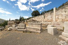 """Delphi, The Sacred Way – X – The Athenians' Stoa (egisto.sani) Tags: """"early classical period"""" primo classico periodo """" athenians stoa"""" """"stoa degli ateniesi"""" stoa portico phocis focide delphi delfi """"archaeological museum"""" """"museo archeologico"""""""