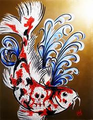 "Painting ""Keep swiming"" 2017 (MadArt70) Tags: magnus dacke madart art konst painting tavla målning koi fish fisk swiming simma water vatten gold guld skull skalle döskalle 2017 sweden sverige hässleholm"