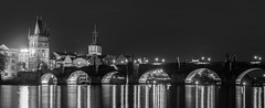 Evening Charles bridge (JirkaCaletka) Tags: prague photography praha photo prag praga public photographer panorama bridge charlesbridge czech cesko cesky black white grey blackandwhite light lights statue statues river vltava evening night digital architecture nikon nikkor d3300 nikonphotography jirka caletka jirkacaletka