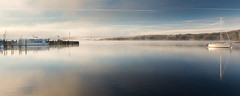 Misty morning on #Windermere lake (Joe Dunckley) Tags: ambleside cumbria england lakedistrict lakewindermere uk waterhead windermere boat lake mist pier reflection sunrise water
