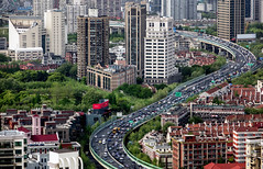 just a little green helps the world go around (Rob-Shanghai) Tags: shanghai city cityscape china modernchina rx10m2 puxi highway view hotel pullman 50floor