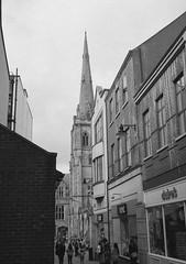 Aspirational street (bigalid) Tags: film 35mm olympus pen ee2 bw c41 fujifilm neopan 400cn halfframe spire durham april