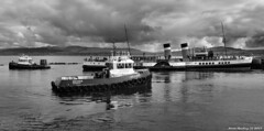 Scotland Greenock the paddle steamer Waverley and tugs 28 April 2017 by Anne MacKay (Anne MacKay images of interest & wonder) Tags: scotland greenock paddle steamer waverley tugs ships xs1 monochrome blackandwhite 28 april 2017 picture by anne mackay