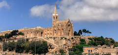 Port of Mgarr on the small Island of Gozo (zilverbat.) Tags: malta travel tripadvisor gozo zilverbat church hotel mgarr haven harbor 1888 lourdeskerk island port ghajnsielem canon reizen hill wallpaper postcard bild image