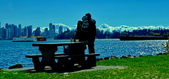 Sunny but windy and cool spring day in Vancouver (peggyhr) Tags: peggyhr harbour portmetrovancouver skyline clouds barges family picnictable green blue white backlit sunshine sparkling dsc00081a vancouver bc canada candid stanleypark super~sixbronze☆stage1☆ thegalaxy thelooklevel1red visionaryartsgallerylevel1