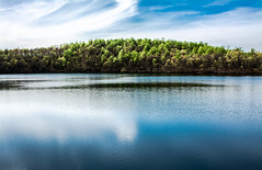 beautiful day (-gregg-) Tags: trees reservoir maryland sky clouds