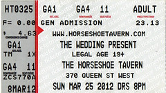 The Wedding Present  -  Horseshoe Tavern, Toronto, Canada, 2012 (rchappo2002) Tags: concert ticket tickets music gig wedding present canada horseshoe tavern toronto 2012