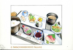 2013_05_19_yachiyotei_01_s (blue_belta) Tags: food art japan sushi sketch drawing sashimi japanesefood coloredpencil       wasyoku