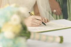 20130521_F0001: Signing the wedding register (wfxue) Tags: flowers wedding love sign pen writing paper bride book heart ring event record fountainpen register bouquet write signing