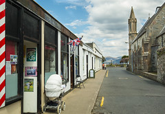 Wesley Snips: Barber chop (Jawad Qasrawi) Tags: road church fountain clouds jack scotland pavement argyll flag sony union barber cumulus western unionjack isle isles pram rx bute rothesay isleofbute rx100 sonyrx100 bute2013