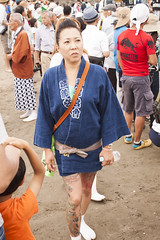Woman in Blue (rokclmb) Tags: beach festival japan tattoo japanese kamakura celebration kanagawa matsuri mikoshi zaimokuza rokclmb jessederiksen