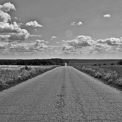 hit the road (Sergey S Ponomarev) Tags: road summer bw nature clouds canon landscape russia outdoor 600d vyatka