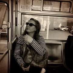 Sudden Stops (Jeremy Brooks) Tags: sanfrancisco california camera blackandwhite bw usa bus person blackwhite candid muni iphone sanfranciscocounty