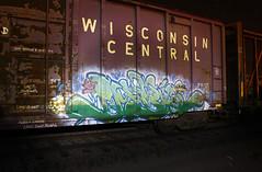 DUBLE (The Braindead) Tags: art minnesota train bench photography graffiti painted tracks minneapolis rail explore beyond the