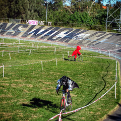 Kiss vs Elmo (lukemarkof) Tags: camera friends light shadow party summer music brown sunlight black green art classic bike bicycle sport canon silver fun happy cycling drops exposure track cyclist play power view cross respect outdoor fast style australia melbourne funky excited brunswick victoria dirty special spooky chrome cycle automatic gathering pace local tough depth interest neighbourhood velodrome built cyclocross challenging dirtydeeds 2013 ddcx treadlie