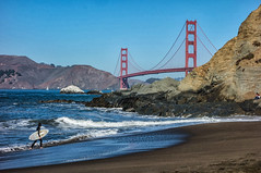 Baker Beach at San Francisco (meltaxa) Tags: sanfrancisco goldengatebridge bakerbeach skimboarder