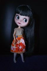 """Cassiel models the Hawaii -""""Half knit half sew dress"""""""