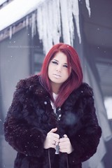Frost (fringefalcon) Tags: winter red woman snow cold ice beauty fashion vintage hair fur model frost coat freezing icicles