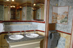 Restroom With Style (Pyogenes Gruffer) Tags: reflection lights mirror sink basin taps tiles dryer
