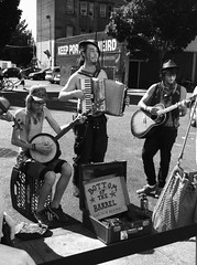 Bottom of the Barrel (cmd112) Tags: life city blackandwhite music money tourism musicians oregon portland mono living guitar live band banjo accordian busking travelphotography bottomofthebarrel iphonephotography