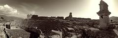 Panorma of Xantos (VillaRhapsody) Tags: panorama rome sepia ancient theater sarcophagus historical lycian preroman xantos
