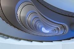 Safe in the womb (Maerten Prins) Tags: duitsland deutschland germany berlin berlijn stair stairs stairwel trappenhuis treppen upshot white curve curves line lines soft nier niere oor ohr kidney spiraal spiral allianz blue womb infinity architecture