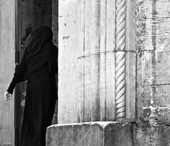 Entering the Mosque (FraConti84) Tags: raw bw bnw bnwshot bnwmood bnwlife bnwpeople biancoenero blackandwhite blackandwhitetravel blackandwhitepeople blackandwhitewoman eminönü istanbul turkey noiretblanc blancoynegro mosque veil veiledwoman canon