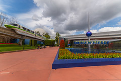 Empty Energy (wdwben) Tags: waltdisneyworld waltdisney waltdisneyworldresort waltdisneyworldparksandresorts waltdisneyworldparks disney disneyworld disneyparks disneyparksandresorts epcot epcotcenter epcotinternationalflowerandgardenfestival internationalflowerandgardenfestival flowerandgarden futureworld universeofenergy monorail monorailgreen clouds flowers nikon nikond610 irixlens irix15mm