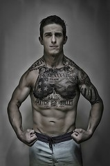 A Razor A Match and A Bullet (MARK RUIZ 08) Tags: santabarbara california muscle man weights lifting workout tattoos americanflag american america