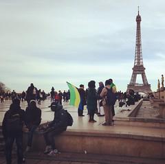 instant by the tower (danamerdariu) Tags: paris eiffeltower latoureiffel demonstration