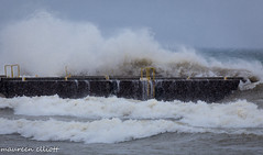 Explosion! (maureen.elliott) Tags: waves crashing water dock georgianbay winds nature outdoors snowing weather