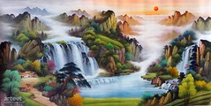 Song of the Great Harmony, Art Painting / Oil Painting For Sale - Arteet™ (arteetgallery) Tags: arteet oil paintings canvas art artwork fine arts waterfall river water rock stream landscape stone forest mountain outdoor environment park cascade creek fall travel tree wild natural flowing summer falls splash spring flow rocks scenery waterfalls motion wet peaceful scenic outdoors tranquil fresh serene moss wilderness ecology lake falling sunlight clean grass trees stones peace season landscapes oriental lakes rivers lime orange