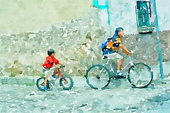 """Being Followed"" watercolor version (Pejasar) Tags: watercolor artistic art guatemala antigua street cobblestone transportation boy man son father two bicycle"
