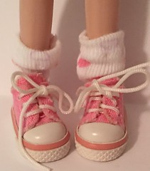 Short White Socks With Pink Hearts...For Blythe...