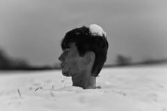 have a break. and kill your past. (sommerpfuetze) Tags: bw lensbaby winter snow mono boyfriend dinnerforone puppe portrait jahreszeiten blackwhite sw profil schwarzweis unmenschlich