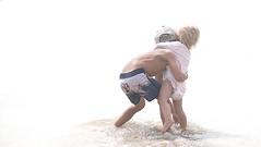 Big brother (judith511) Tags: odc overexposure beach children byronbay wreckbeach surf waves