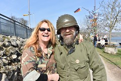 Reenactors happy to participate in event (U.S. Army Europe) Tags: nierstein germany worldwar ww2 75strong strong strongeurope amphibious nazivictims kornsand engineers 249th history historic rhine rhineriver usareur armyeurope europestrong