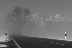 Benebelt (flori schilcher) Tags: coloman schilcher nebel fog schnee snow kirche berge absoluteblackandwhite