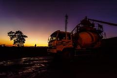 Sunset (Yesmk Photography) Tags: sunset readymixer vehicle yesmk muthukumar man standing concrete tower mobiletower tree odisha india nikon d7100 tokina 1116mm