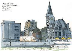 Liège, place Cockerill (gerard michel) Tags: belgium liège architecture place marché sketch croquis aquarelle watercolour